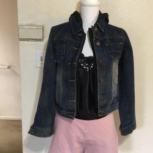 Jackets & Blazers - Layered denim jacket with a hoodie